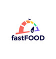 fast food delivery dial gauge logo icon vector image