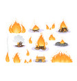 firewood boards bonfire branches logs fire vector image vector image