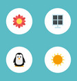 flat icons sun power sunshine blossom and other vector image vector image