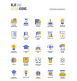 flat line multicolor icons design-education and vector image