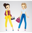 Girls Dressed In Bisness Style vector image vector image