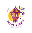 happy diwali logo design hindu festival label vector image