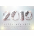 happy new year 2019 greeting card with silver vector image vector image