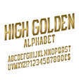 high golden alphabet witn numbers dollar and euro vector image vector image