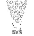 human head with education doodles icons collection vector image vector image