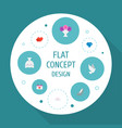 icons flat style hearts dove bouquet and other vector image vector image