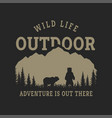 journey into wild badge t-shirt design vector image vector image