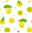 lemon drawing black outline seamless pattern vector image vector image