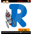letter r with rocket cartoon vector image