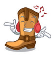 listening music old cowboy boots in shape vector image vector image