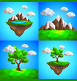 low poly landscape with tree mountains and vector image