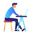 male programmer using laptop at desk vector image