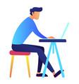 male programmer using laptop at desk vector image vector image