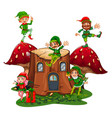 many elves on log home in garden vector image vector image