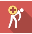 Medication Courier Flat Square Icon with Long vector image vector image