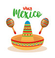 mexican culture traditional hat and maracas vector image vector image