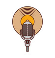 microphone music vinyl disk vintage cartoon vector image vector image