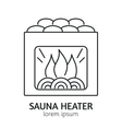 Modern Line Style Sauna Heater Logotype Template vector image vector image