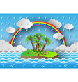 palm with island and rain vector image