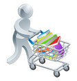 person pushing trolley with books vector image
