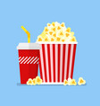 popcorn snack and drink in flat style vector image vector image