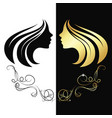 profile girl gold color silhouette vector image