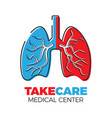 pulmonary center logo vector image vector image