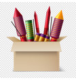 pyrotechnics box realistic composition vector image vector image
