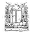 reading nook cozy window seat drawing vector image