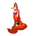 red fox forest with fluffy tail with scarf vector image