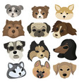 set cartoon dog faces collection portraits vector image
