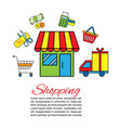 shopping delivery car with vector image vector image