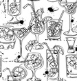 Sketch seamless pattern of cocktails vector image vector image