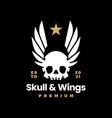 skull and wings on black t shirt logo icon vector image vector image
