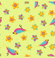 spring background color birds pattern vector image vector image