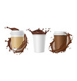takeaway coffee coffee splashes and white vector image vector image