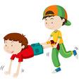 Two boys playing wheel barrow race vector image vector image