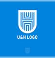 u h blue monogram shield vector image