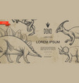 vintage dinosaurs monochrome style template vector image