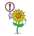 with sign sunflower character cartoon style vector image