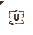 wooden alphabet or font blocks with letter u in vector image