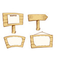 wooden street signs set wood boards vector image