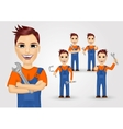 young plumbers dressed in work clothes vector image