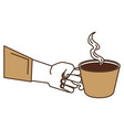 hand human with coffee cup isolated icon vector image