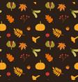autumn leaves mushrooms pumpkin and berries vector image vector image