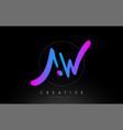aw artistic brush letter logo handwritten vector image vector image
