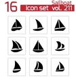 black sailboat icons set vector image vector image