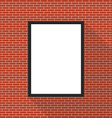 Blank picture frame on brick wall vector image vector image