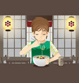 boy eating noodle vector image
