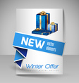 Brochure Design Template with Blue Christmas Gifts vector image